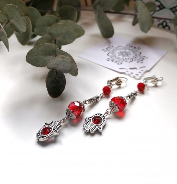 Earrings - Fatima hands with red crystals