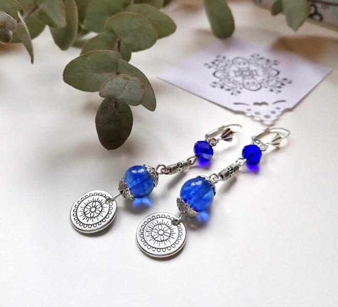 Earrings - Mandala with blue crystal beads