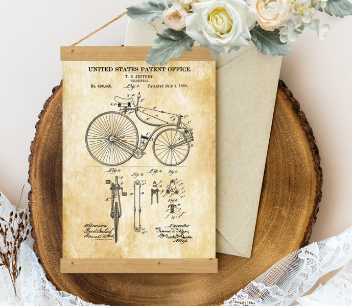 Sienas dekors, plakāts - Vintage bicycle velocipede-patent-1889